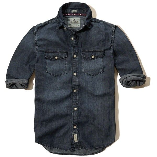 Hollister Dark Wash Denim Shirt (3.120 RUB) ❤ liked on Polyvore featuring men's fashion, men's clothing, men's shirts, men's casual shirts, men, dark wash, mens slim fit shirts, mens faded denim shirt, mens denim button down shirt and mens pocket t shirts