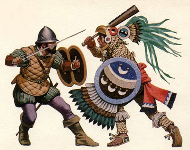 Spanish Conquistador fighting against an Aztec Eagle Warrior during the Spanish conquest of the Aztec Empire in 1521.