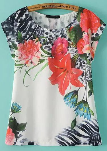 White Short Sleeve Floral Loose T-Shirt 13.17
