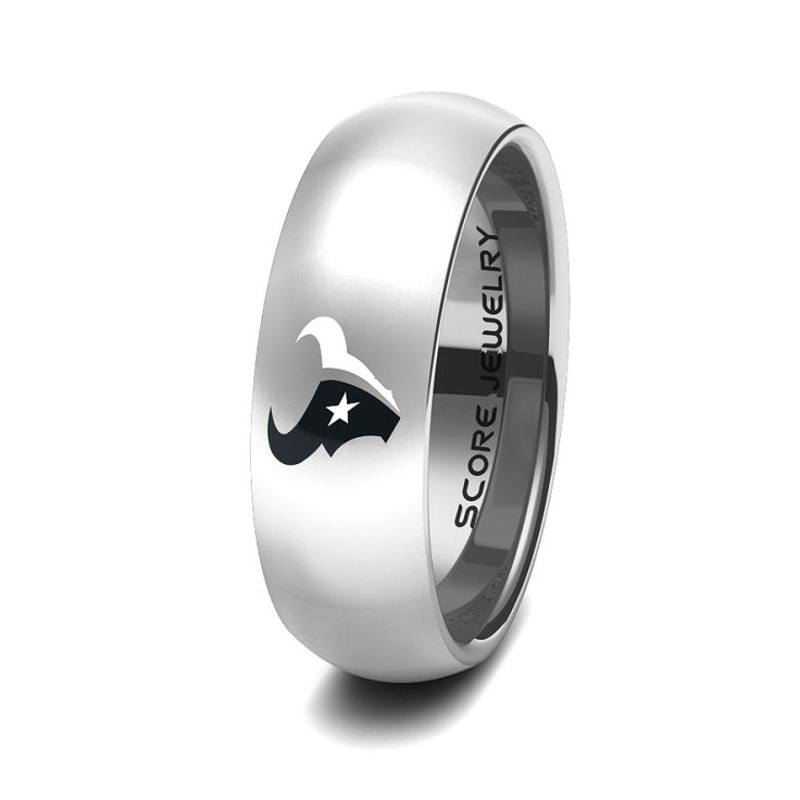 Black Tungsten Band with Domed Edge NFL Football Houston Texans Logo Ring