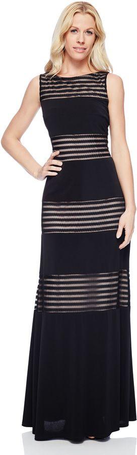 Black and Sheer Stripe Maxi Dress