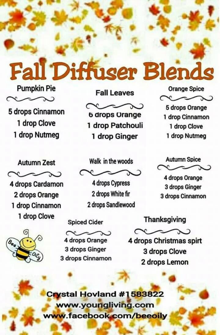 Young Living Essential Oils - Fall diffusing combos for my diffuser.