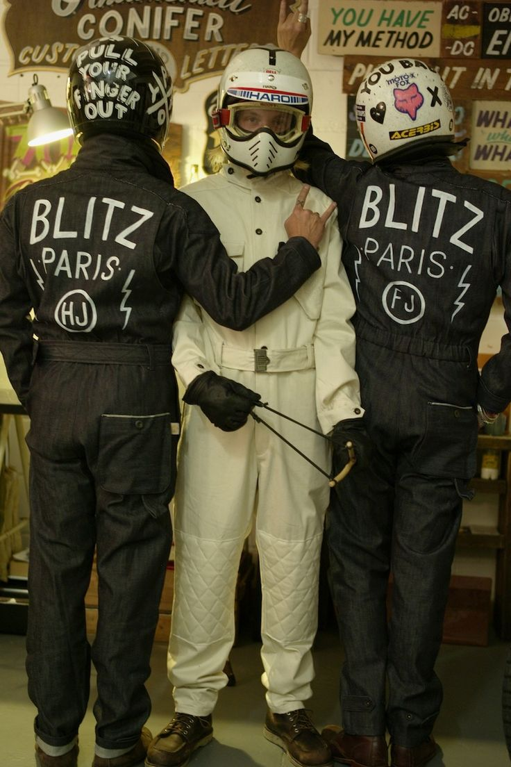 Astonished to see our Bonneville Dry Red Selvedge Coveralls, custom hand painted by Nicolai Sclater, (aka: Ornamental Conifer), for our fabulous parisian friends the Blitz Crew.