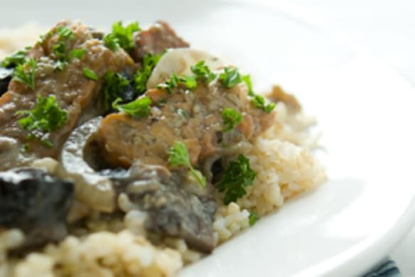 Firm, flavorful mushroom varieties like cremini, portobello, shiitake and oyster are ideal for this delicious vegan recipe. It's excellent served over barley. Watch our how-to video.