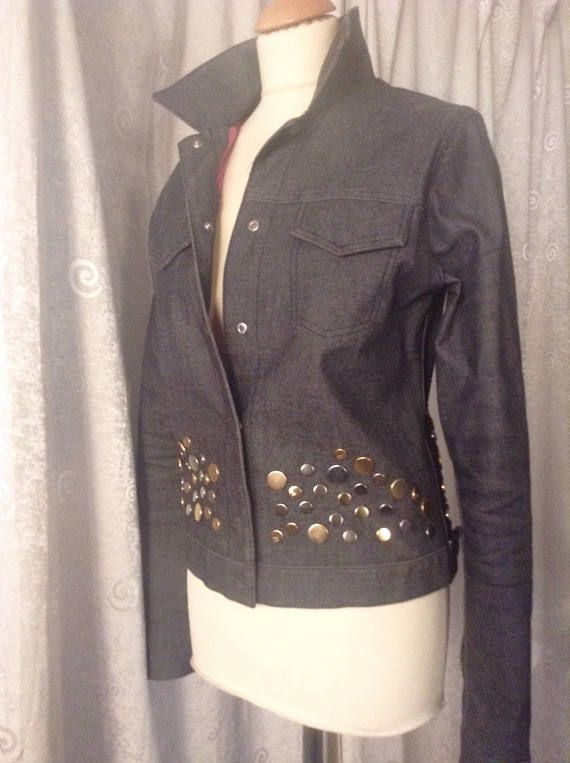 Gorgeous Fendi Denim Jacket black denim gold silver studs