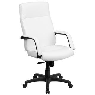 High Back Leather Executive Office Chair with Memory Foam Padding (White), Lancaster Home