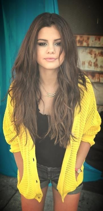 Brown eyes, Brown hair, bold bright color - bright yellow cardigan over dark colors