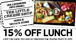 The Little Cheese Shop in Victoria BC - 15% OFF Lunch!