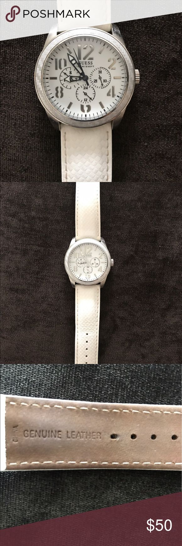 Genuine Leather White GUESS Watch Genuine Leather White GUESS Watch model U10645G2 Stainless Steel- preowned.  Watch has been worn a few times and needs a battery it is not currently ticking. Otherwise in good condition. Guess Accessories Watches