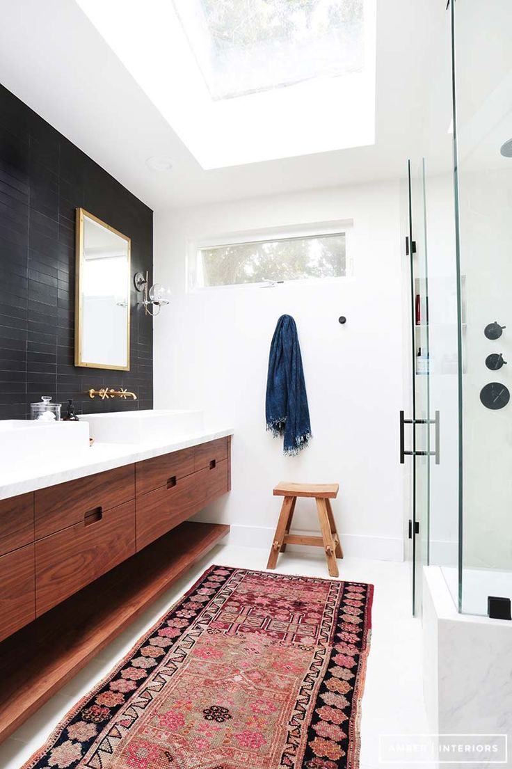 Best Mid Century Bathroom Ideas On Pinterest Mid Century - Black and white bathroom rugs for bathroom decor ideas