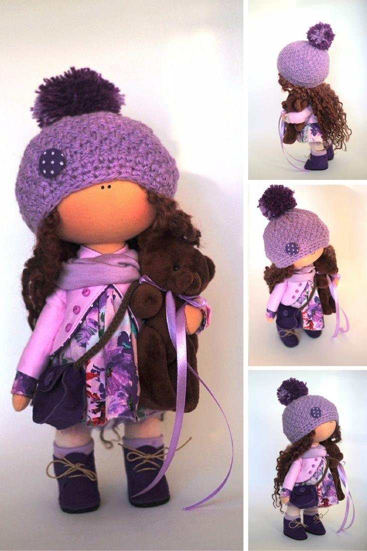 Cloth doll Tilda doll Summer doll handmade violet color Soft doll Fabric doll…