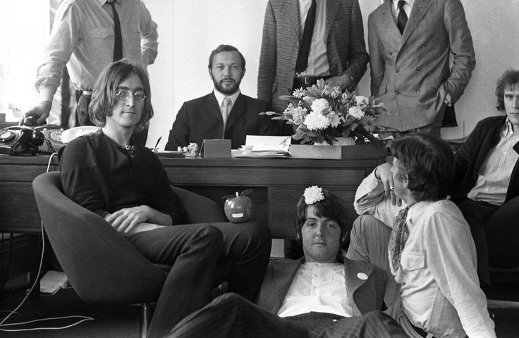 London, England: 1968. John Lennon, Peter Brown (with beard), Paul McCartney…