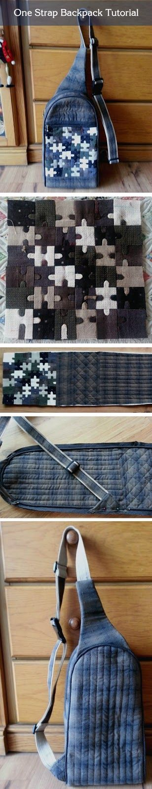 Monostrap Backpack, One strap backpack. DIY step-by-step tutorial.  http://www.handmadiya.com/2015/08/sling-shoulder-bag-patchwork.html
