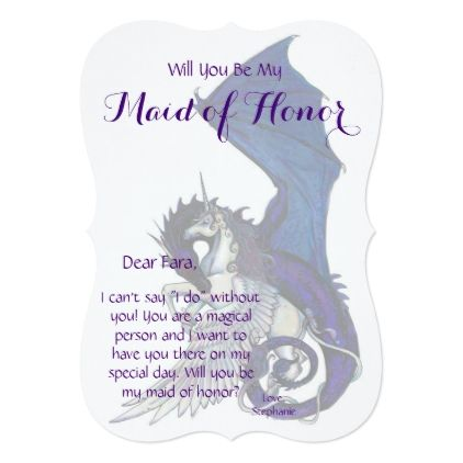 Unicorn Maid of Honor Invitation Dragon Red - bridal shower gifts ideas wedding bride