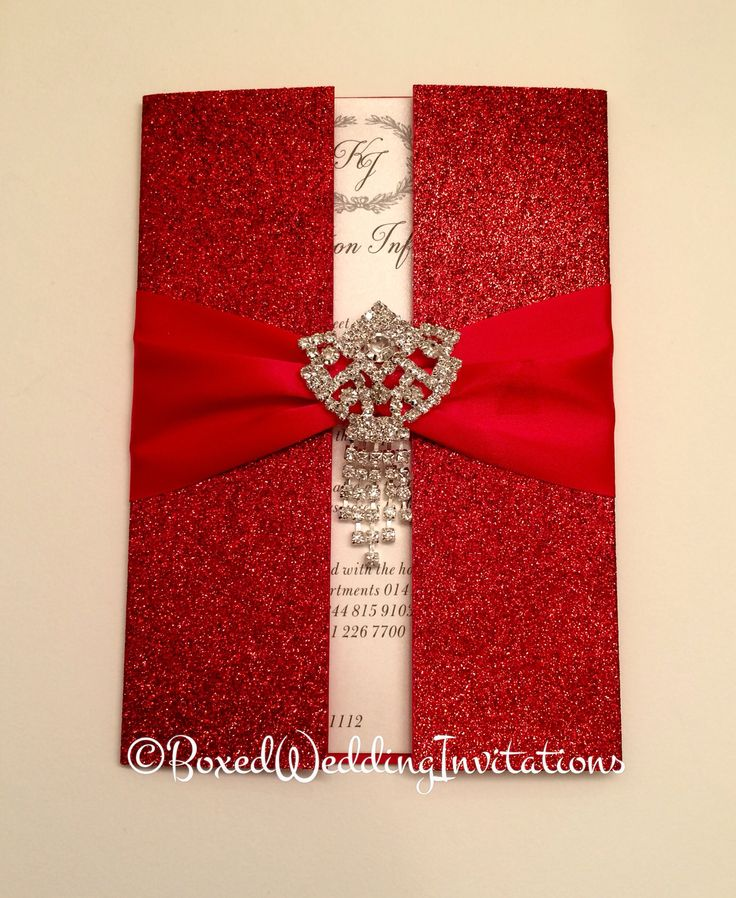 ✨The combination of red glitter, red satin ribbon and rhinestone dangling brooch makes this invitation card so unique!!✨See more at www.boxedweddinginvitations.com✨ #wedding #instyle #invitation #invitations #weddingideas #weddinginspiration #weddinginvitations #red #glitter #brooch #newyork #california #miami #miamibride #bridetobe #unique #perfect #royalty #oneofakind #beautiful #engaged #design #custom #couture #coutureinvitations #luxury #weddingplanner #anniversary #eventplanner #event