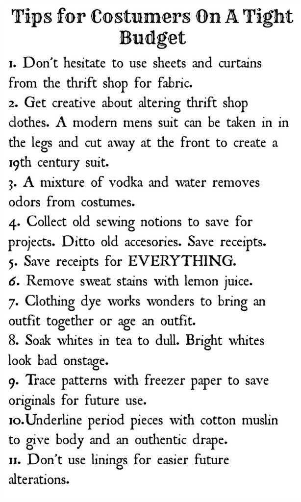 Tips for costuming on a budget - I'd also like to add: Find shoes in the basic needed shape at thrift stores; disinfect with Lysol, then paint with acrylic. It should hold up through 1 con, if not longer.