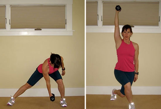 Side Lunge to Curtsy:   Holding a 5 to 10-pound weight in your L hand, side lunge to the R bringing your L hand to your R foot. Lower your booty,keeping toes pointed forward & your right knee bent to no more than 90 degrees.  Push off gently into a curtsy position with your right leg crossing behind your L, press your weight overhead. Keep your hips square and your curtsy tight.   Repeat by stepping immediately into a side lunge from the curtsy.  Do 15 reps, switch sides. Do three sets…