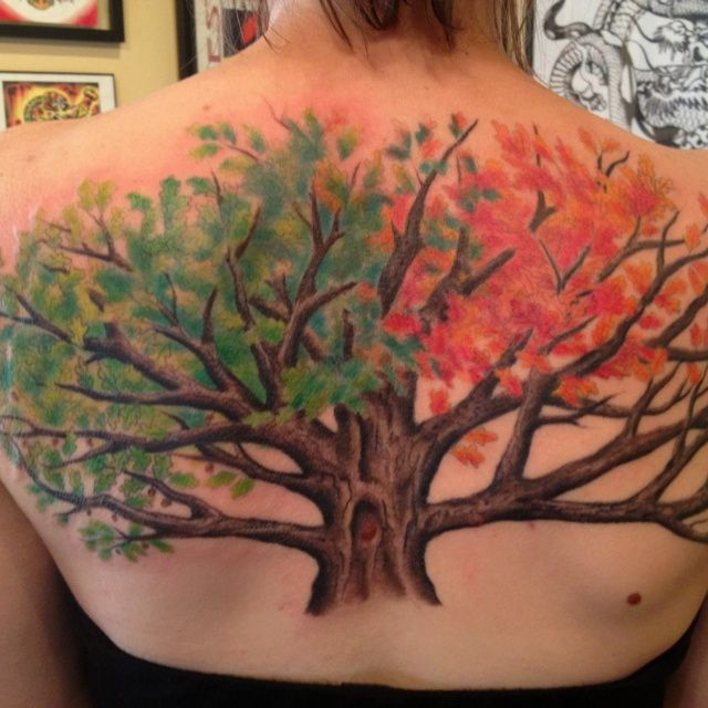 Two Sides - Fall & Summer Tree Tattoo