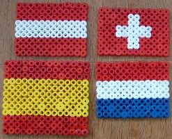 Flags of Austria, Switzerland, Spain and the Netherlands (fuse beads)
