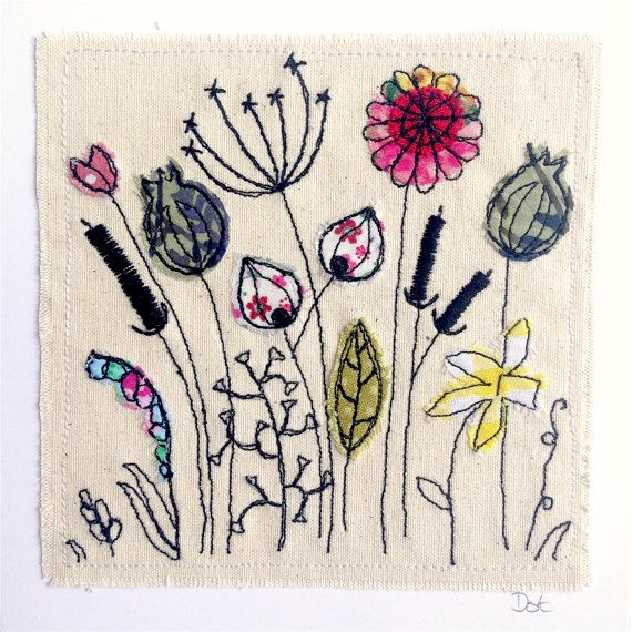 Wildflower Meadow framed wall art.   A handmade stitched appliqué picture on canvas. This item comes in a white 8x8 frame with white mount included. Image size is 6x6 inches including backing card. You have a choice of frame - either basic mdf with plastic coating, or high quality painted solid wood. The wooden frame is slightly larger and deeper, meaning it is free-standing without needing a back strut. Both types can be hung.  This item is made to order, meaning it will be made to my…