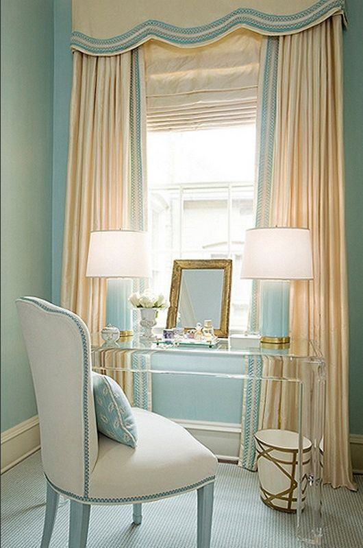 clear makeup vanity table. bedrooms  Acrylic lucite desk ivory window treatments blue lamps cornice box walls Kelley Interior Design via House of Turquoise 26 best v a n i t y images on Pinterest Desks Vanities and