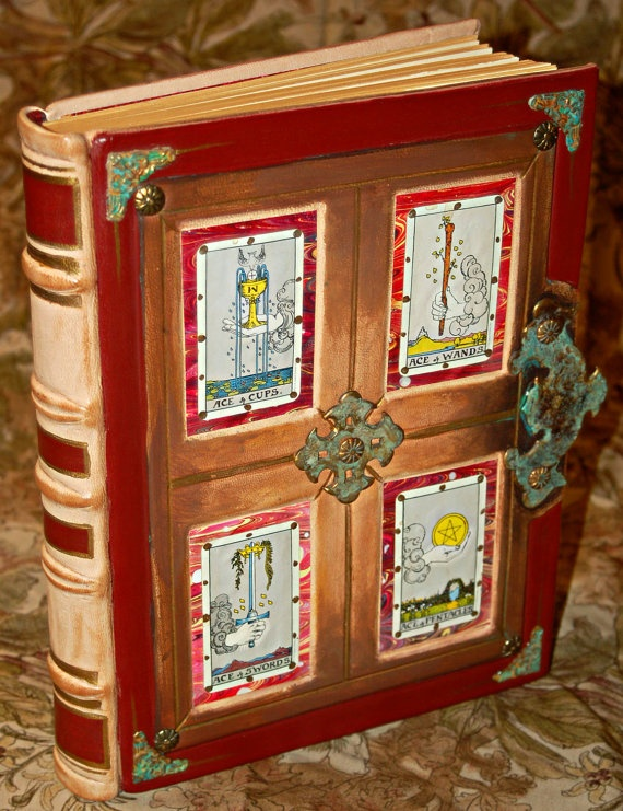 Handmade Tarot Translation Journal:  9 x 11.25 leather-bound with decorative filigree and framed paneling. It has been hand painted and treated with a patina solution.