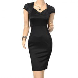 $18.53 Beam Waist Packet Buttock High-Waist Knee Length Polyester Color Matching Plus Size Semi Formal Dress For Women