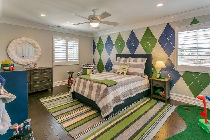 Golf Themed Kid Room, blue and green