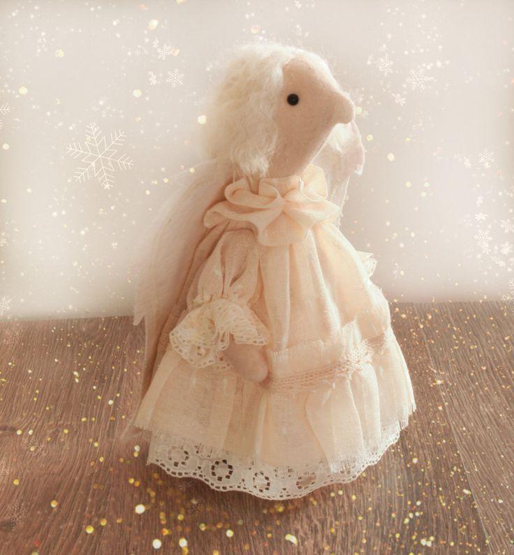Rag doll handmade white angel toy Christmas present for her real feeling figurine handmade cloth rag doll angel figurine toy - pinned by pin4etsy.com