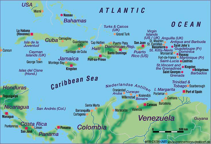 Karte von Karibik (mehrere Länder) - Karte auf Welt-Atlas.de - Atlas der Welt