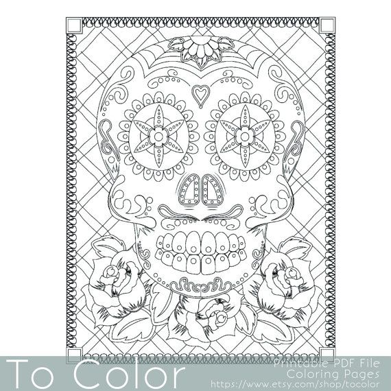 Sugar Skull Coloring Page For Adults Day Of The Dead Instant Download Pumpkin PagesColoring BooksHalloween
