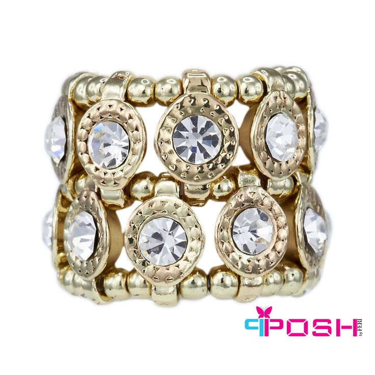 "Carmen Gold - Ring.  -Stretch ring - Gold tone metal - Double row of white crystals - Dimension: 0.79"" width - Stretch ring will fit most sizes.  POSH by FERI - Passion for Fashion - Luxury fashion jewelry for the designer in you."