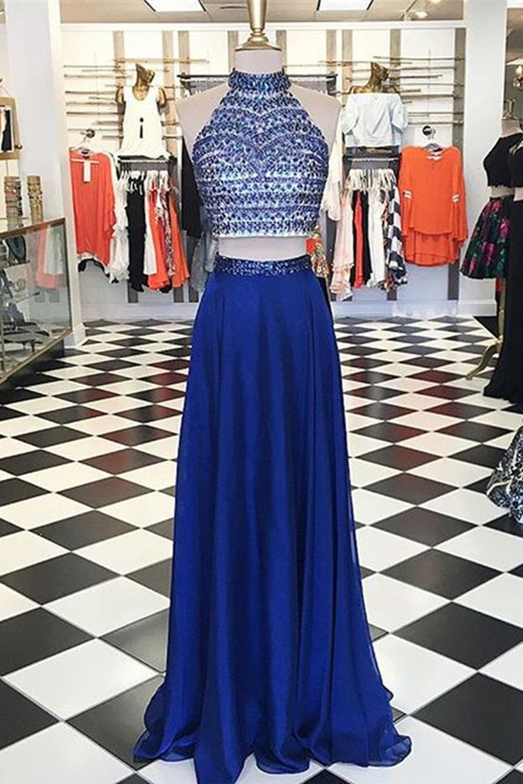 Navy blue chiffon A-line beaded long two pieces handmade prom dress, sequins evening dress
