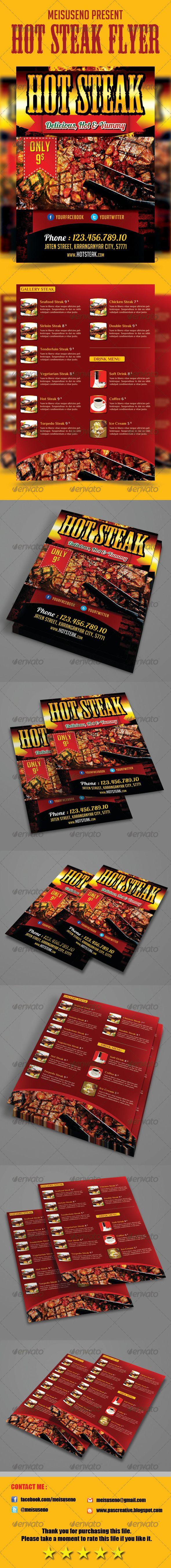 Hot Steak Flyer Template - graphicriver sale