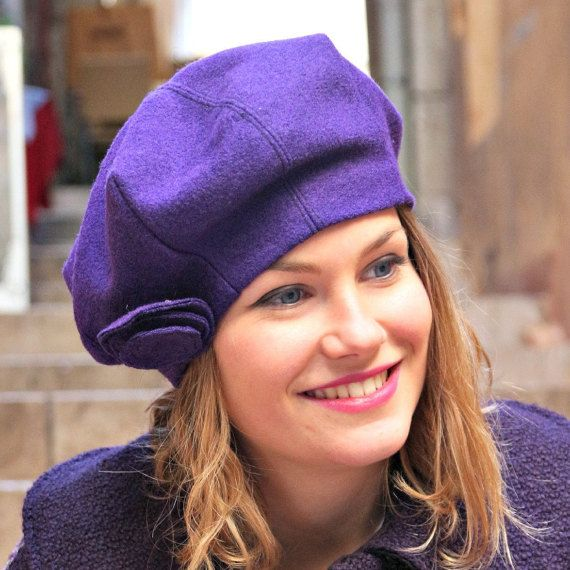 Purple fabric beret. French womans beret. by delisaboutique