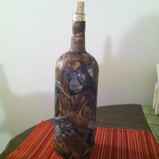 Decoupage Wine Bottle with camo decoration & pictures