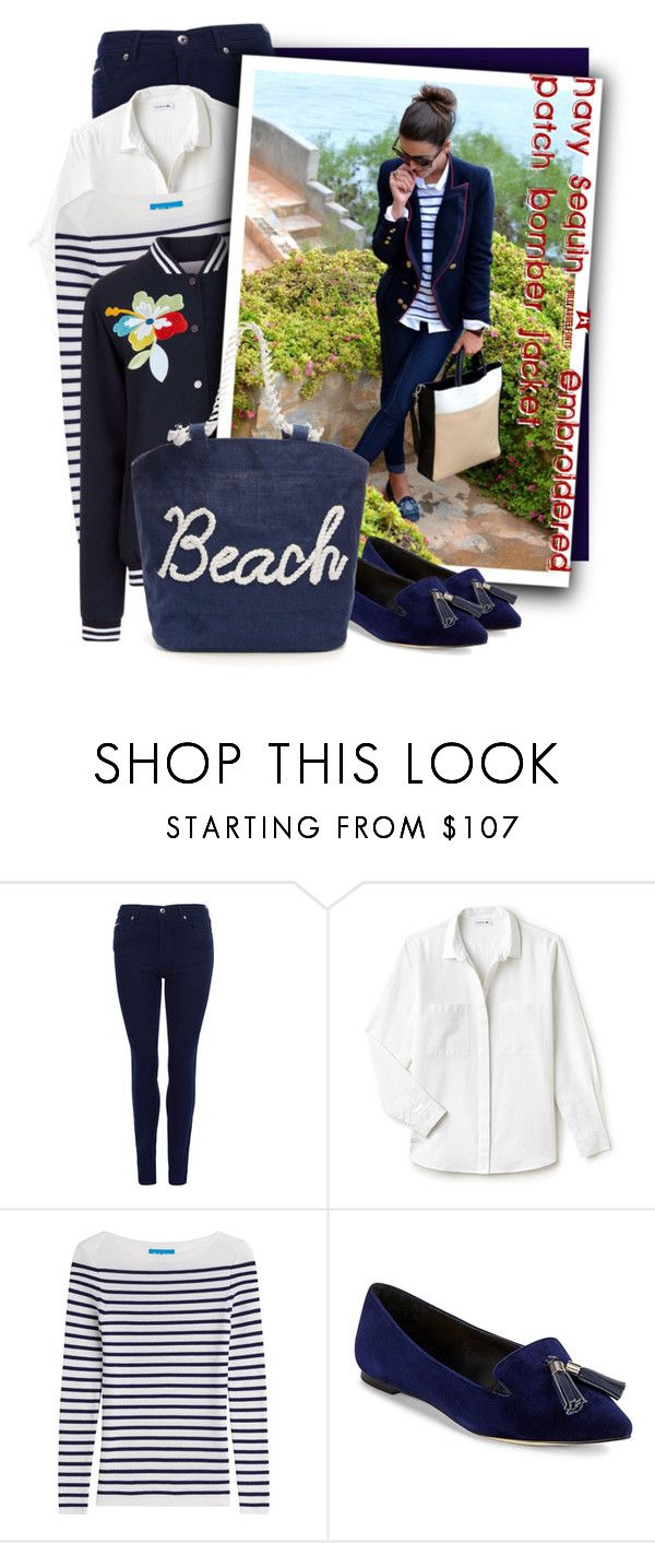 """""""Navy Sequin & Embroidered Patch Bomber Jacket"""" by tasha1973 ❤ liked on Polyvore featuring Barbour International, Lacoste, M.i.h Jeans, Mira Mikati and Saks Fifth Avenue"""