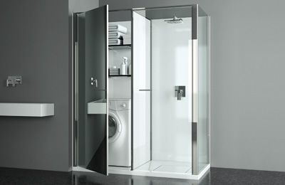 A neat laundry cupboard could be built next to a shower (or bath)