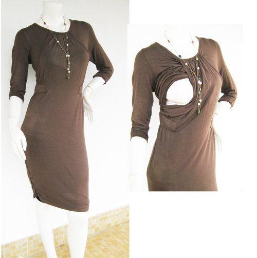SANDRA Maternity Dress / Nursing Dress Breastfeeding / Nursing Clothes / NEW Maternity Dresses / MOCHA / Maternity Clothes/ Free Shipping