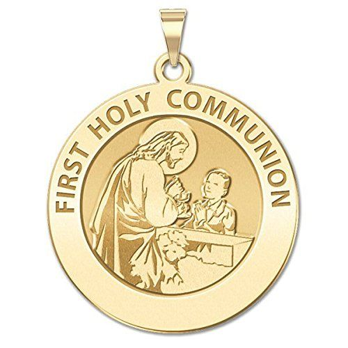 First Holy Communion Religious Medal (for a Boy) - Available in 3 Sizes. Available in 3 Sizes. 17mm - size of a US dime, 19mm - size of a US nickel, 25mm - size of a US quarter. Made in the USA. All Medals are Solid 14k or .925 Sterling Silver. Free Jewelry Gift Box. Chain NOT Included. Ships in one day.