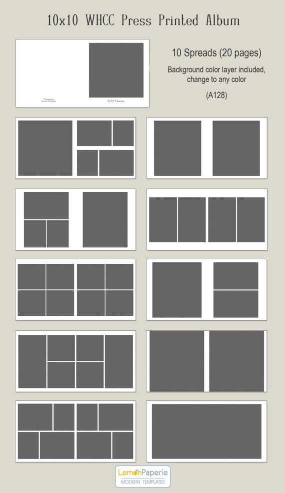 10x10 WHCC Press Printed Album Templates (a128) INSTANT DOWNLOAD