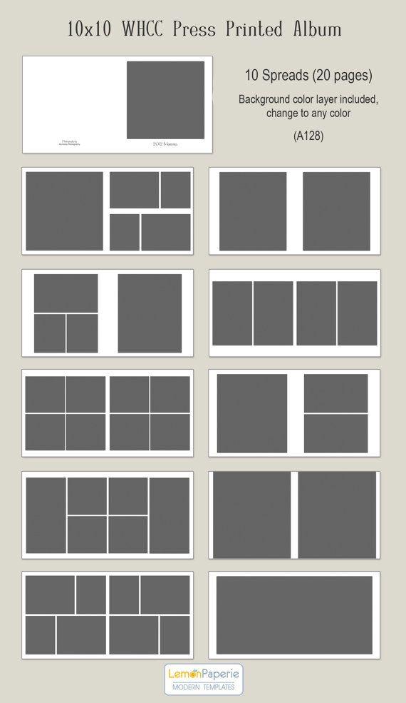 10x10 WHCC Press Printed Album Templates (a128) INSTANT DOWNLOAD