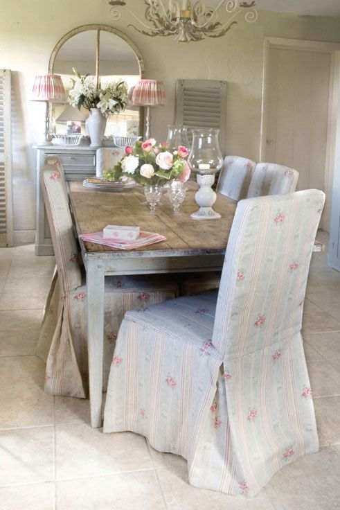Chair covers create such an elegant yet cosy look!  #EnglishHome #DiningRoom