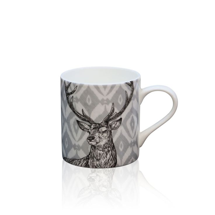 Patter Earth Ikat Stag Mug - Show off your unique personality with this novel mug which has a stag as its motif but won't be a stagnant feel when you sip drink from it. #INVHome #LuxuryHomeDecor #InteriorDesign #RoomDecor #Decorations #Decor #INVHomeLinen #Tableware #Spa #Gifts #Furniture #LuxuryHomes #Mugs