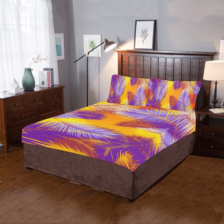 Tropical Summer Pop Art 3-Pieces Bedding Set. by  Scar Design. #bedroom #bedroomset #duvet #quilt #beddingset #3piecesbedroomset #pillowcases #bed #home #homedecor #modern #artsadd #scardesign #onlineshopping #shopping #family #style #39 #art #design #colorful #palmtree  #summer #tropical #palmleaves #gifts #giftsforhim #giftsforher #orange #purple #quiltcover  #bedding