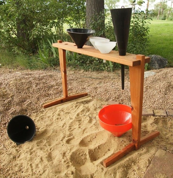 Funnels and sand- children get to explore the way sand moves through funnels. How sand can travel