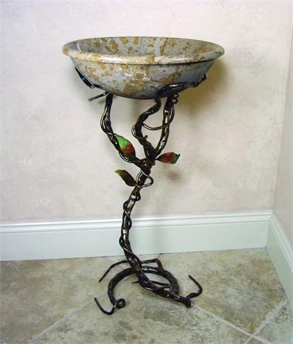 Yosemite Home Decor FIRESTINE-6 Material Iron 17 x 17 x 33. FIRESTINE-6 Yosemite Home Decors Firestine-6 stand is made of iron. This iron stand is made by human hands with some aid of tools to curl and twist the iron. The Firestine-6 iron stand has dimensions of 17 x 17 x 33 inches. .. . See More Sink Stands at http://www.ourgreatshop.com/Sink-Stands-C1060.aspx