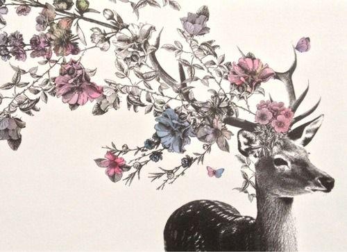 pretty flowers Sketch floral deer antlers