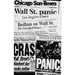 American newspaper headlines describing the stock market plunge of October 19, 1987