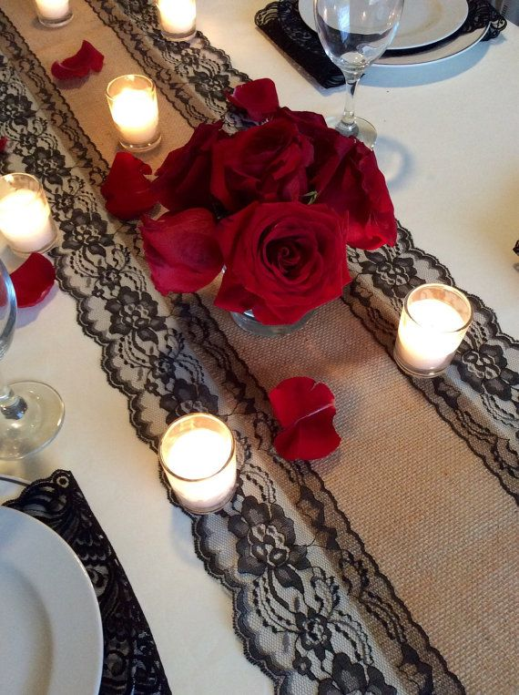Burlap Runner/Black Lace, 5ft-10ft x 13in Wide, Black /Wedding Decor/Wedding Supplies/ gift/Home Decor, Black Runner